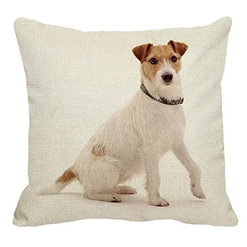 Funda Cojine Funda Almohada sofá Decorar Lindo Jack Russell Terrier patrón funda de almohada de lino sofá de casa funda de almohada cuadrada funda de cojín para perro 45X45cm decor hogar regalo