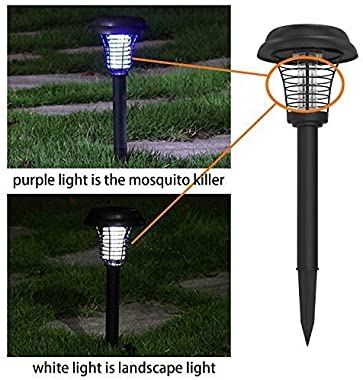 2Pcs Solar Powered Bug Zapper LED Mosquito Killer Light Insect Pest Killer Lamp for Indoor Outdoor Use