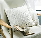 ANDUUNI Decorative Cotton Knitted Pillow Case Cushion Cover Double-Cable Knitting Patterns Soft Warm Throw Pillow Covers