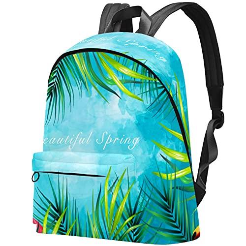 LAZEN Mochila ligera Mochila escolar universitaria Mochila para portátil para adultos y adolescentes Mochila informal Flamingo y Toucan