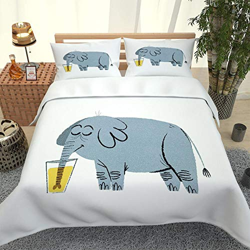 ZHIYYQ Juego de ropa de cama de tres piezas funda de edredón de microfibra 3D impresión digital engrosamiento cálido suave regalo de dibujos animados elefante-140 x 200 cm