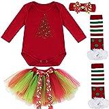 IEFIEL Conjuntos de Vestidos Navidad para Bebé Disfraz Carnaval Body de Papá Noel Pelele Manga Larga+Tul Tutú+Diadema+Calcetínes+Zapatos Romper para bebé Recien Nacido Árbol de Navidad 0-3 Meses
