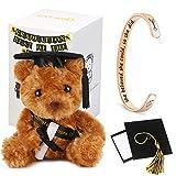 Ingooood Graduation Gift 2020 Inspirational Graduation Cuff Bracelet with Graduation Plush Graduation Bear Graduation Cap Gift Box (She Believed She Could So She Did, Rose Gold)