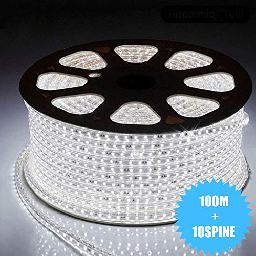 081 Store - STRISCIA LED 220V BIANCO 100 METRI STRIP LED ESTERNO ED INTERNO FLESSIBILE STRIP LED SMD 5050 BOBINA LED + 10 SPINE 220V