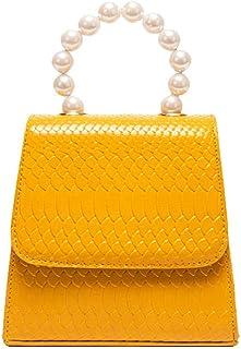 Leather Women Cross Body Bag Fashion Retro Small square bag Yellow