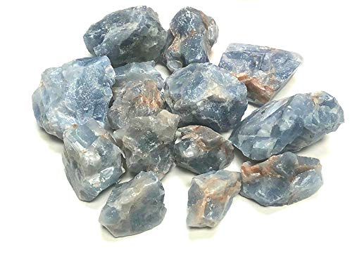 Zentron Crystal Collection: Blue Calcite All Natural Rough Bulk Stones and Velvet Pouch (1/2 Pound)