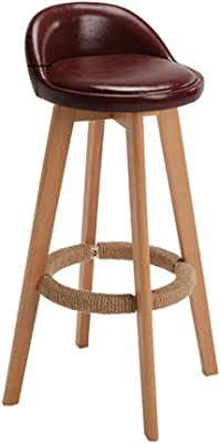 A-Fort Bar Stool Leather Nordic Modern Minimalist Home Solid Wood high Stool bar Stool