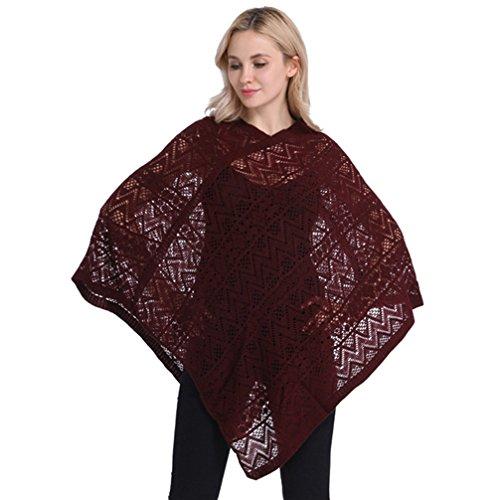 LvRao Damen Lässiger Strick Poncho Top Strand Cover-Ups Pullover mit Fransensaum, V-Ausschnitt und Muster (Wein-Rot, Eine Größe)