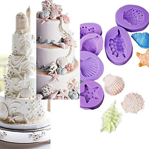 Anyana Seashell Starfish Sea Urchin Seagull mold Fondant silicone Mould for gum paste Sugar paste cake decorating cupcake topper decor set of 7pcs