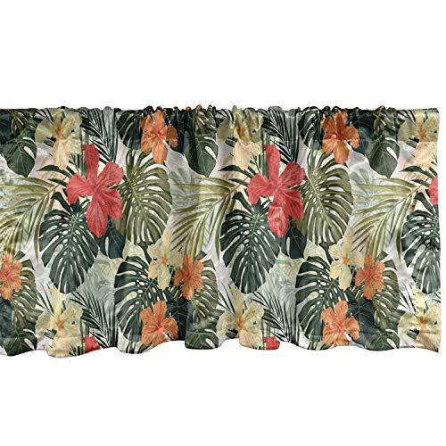 "Lunarable Leaf Window Valance, Hawaiian Summer Tropical Island Vegetation Leaves Hibiscus Flowers, Curtain Valance for Kitchen Bedroom Decor with Rod Pocket, 54"" X 12"", Yellow Orange"