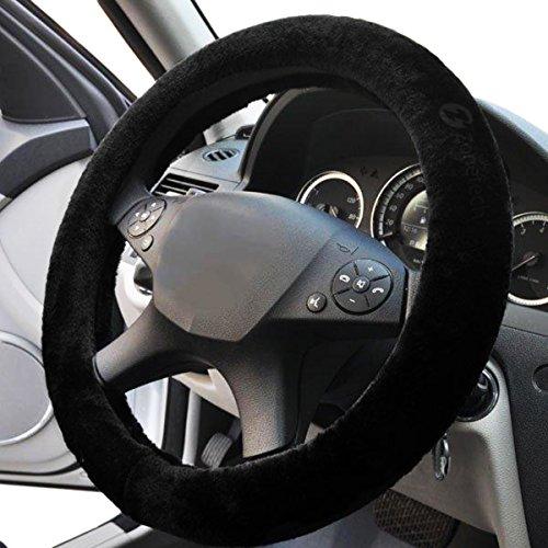 Black Sheepskin Steering Wheel Cover- Zone Tech Plush...