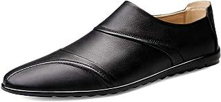DADIJIER Mocassins de Conduite for Hommes Chaussures de Marche Slip on Style Cuir véritable Chaussures Plates Léger Cousu ...