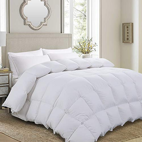 Luxurious Goose Down Comforter King Size Duvet Insert All Seasons Solid White Hypo-allergenic 750+ Fill Power 1000 Thread Count 100% Cotton Shell Down Proof with Tabs (King, White)