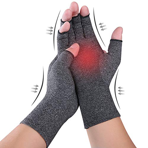 Compression Arthritis Gloves - Pure Comfort, Fingerless Design Gloves for Arthritis Hands - Relieve Pain from Arthritis Symptoms, Raynauds Disease and Carpal Tunnel - Fit for Women and Men (S)