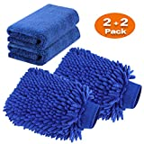 TAGVO Große Auto-Waschhandschuh und Mikrofaser-Reinigungstüch - Deluxe Koralle Chenille-Handschuh-Poliertücher Perfekt für Küche - Autowäsche & Farbe-Blau (2X Tücher + 2X Handschuh)