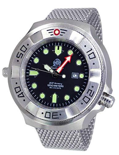 Tauchmeister Reloj de buceo profesional T0319MIL XXL 100 ATM correa milanesa 52 mm
