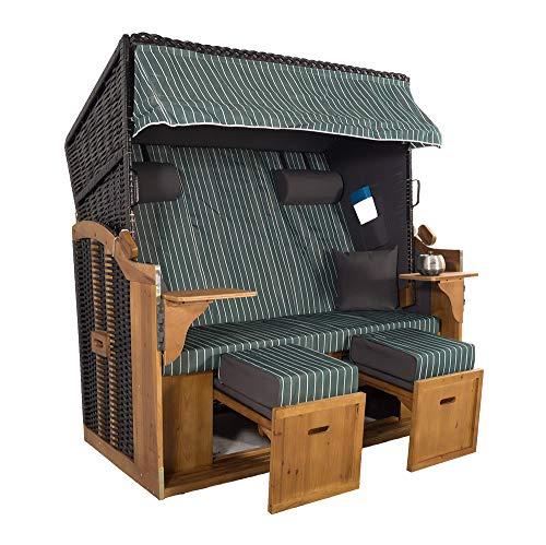 XXL 2,5-Sitzer Schwarz Strandkorb Hörnum Grau (als Bausatz, Grau-Grün Nadelstreifen)