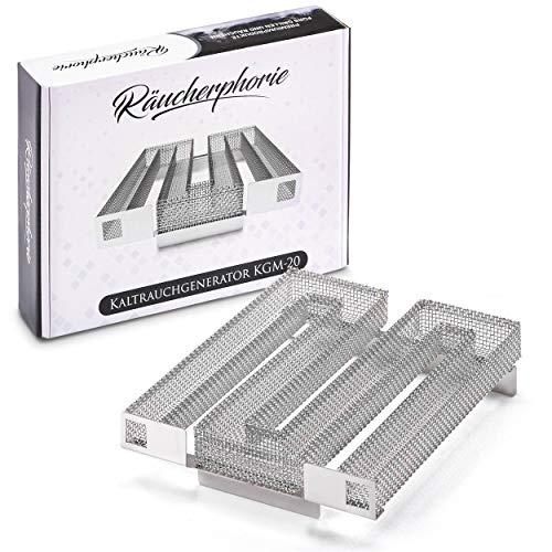 Räucherphorie Sparbrand Kaltraucherzeuger aus Edelstahl - Profiprodukt für Räuchern im Räucherofen, Grill, Smoker - Premium Räucherzubehör (KGM20)