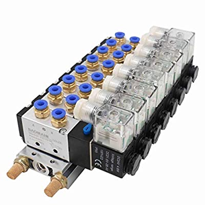 Baomain Solenoid Valve 4V210-08 DC 24V PT1/4 2 Position 5 Way 8 Space Manifold with Base Muffler Quick Fittings Set by Baomain Pneumatic Co.,Ltd