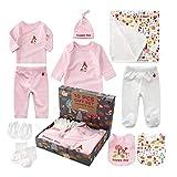 Neugeborenen Set Baby Erstausstattung Erstlingsausstattung Ausstattung Kleidung Badezimmer Geschenkeset Babyausstattung mit 10 Teilen für Kleinkinder Junge Mädchen (Pink)