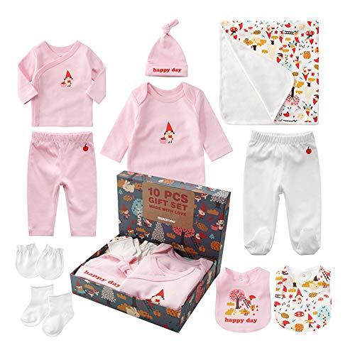 Sets de Regalos para Recién Nacidos Baby Ropa de Equipo Inicial de Regalo para Baño con 10 piezas para Niños Pequeños Niñas (Rosa, Niña)
