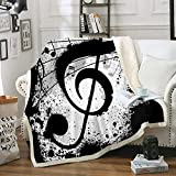 Black White Throw Blanket Music Note Blanket Black Music Notes Printed White Sherpa Fleece Blanket Soft Boys Girls Bed Blanket for Bedroom Couch Sofa (Twin(60'x80'), Music)