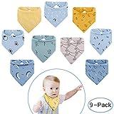 Viedouce Baby Lätzchen Dreieckstuch mit 2 Verstellbares Druckknopf,100% Bio-Baumwolle,Weiche & Absorbierende, Halstücher Drool Lätzchen für Jungen Mädchen (Farbe-05)