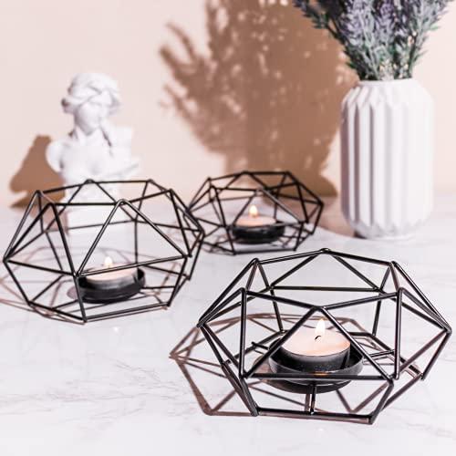 Black Candle Holder 3 Pcs - Tea Light holders- Black Ornaments for the Home Votive holder- Black Lantern Geometric shaped Vintage Hexagon Tealight holders for the Home -Living room -UK SELLER