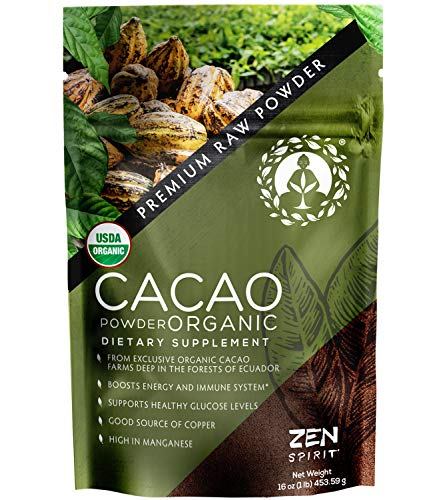Cacao Powder Organic - 1 Pound - Unsweetened Premium Grade Superfood (Raw) - USDA & Vegan Certified - Perfect for Keto, Breakfast, Hot Chocolate, Baking & Ice Cream.