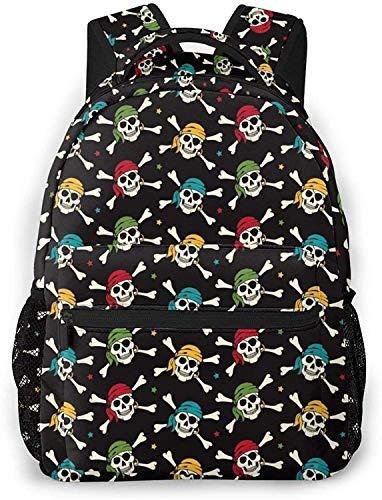 Raqueta y Squash ball Basic Mochila de viaje para ordenador portátil de moda, bolsa de escuela piratas cráneo