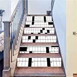 Self-Adhesive Stair Stickers Removable Decals, A Blank Newspaper Style Crossword Puzzle, Art Decor Removable Wall Stickers Home Decorative, W39.3 x H7.08 Inch 6PCS/Set