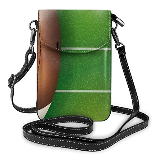 Jiger Women Small Cell Phone Purse Crossbody,American Football Field And Ball Realistic Vivid Illustration College