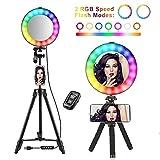 Selfie Ring Light 8'con trípode de 50' Kit de iluminación LED Circular y Control Remoto RGB Rainbow 14 Colores para transmisión de Video en Vivo, Youtube, Maquillaje, fotografía, Tiktok, vlogging