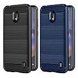 VGUARD [2 Pack] Cover per Nokia 2.2, [Fibra di Carbonio] Protezione Posteriore Soft TPU Custodia Case per Nokia 2.2 (Nero+Blu)