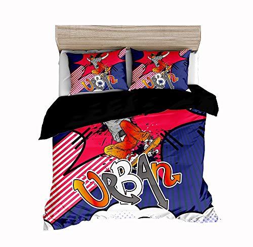 Funda Nórdica Fútbol 3D Estilo Deportivo Deportivo Los Hombres Niño Super Suave Comodo Impresión de Fútbol Ropa de Cama (Estilo 3, Cama 135/150 - 220×240)