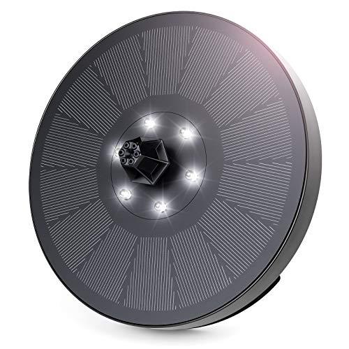 Bomba de Fuente Solar, Fuente de Agua Solar de 3W / 7V con 6 Luces LED, Bomba de Agua Solar de 7 boquillas, Característica de Agua para baño de pájaros, pecera, Estanque, jardín, Acuario(Luz Blanca)