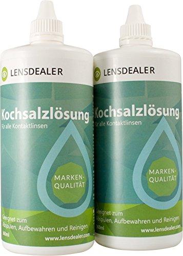 LensDealer Kochsalzlösung Doppelpack 2x 360 ml Pflegemittel für weiche Kontaktlinsen Kontaktlinsenflüssigkeit (2)