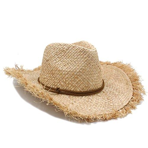 XY-hat Caldo Cappellino da Cowboy in Paglia di Rafia for Cappelli da Uomo con Cappelli di Paglia a Tesa Larga Tipo Gentleman Moda (Color : 1, Size : 56-58CM)
