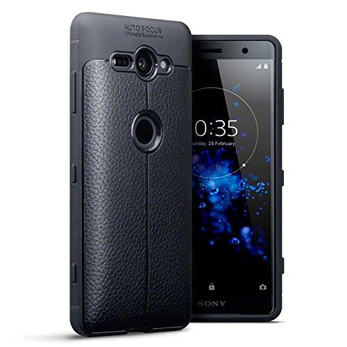 TERRAPIN Coque Sony Xperia XZ2 Compact, Étui Coque en Gel TPU pour Sony Xperia XZ2 Compact Housse - Textures en Cuir Conception Solide Noir