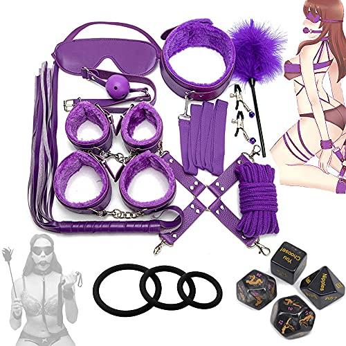 Conjunto de kit de entrenamiento de yoga púrpura con dados de juego de desafío