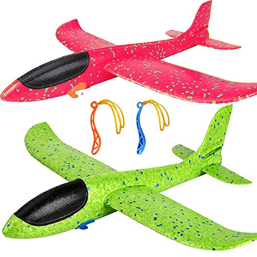 2 Pack Airplane Toys, Upgrade 17.5' Large Throwing Foam Plane, 2 Flight Mode Glider Plane, Flying Toy for Kids, Gifts for 3 4 5 6 7 Year Old Boy, Outdoor Sport Toys Birthday Party Favors Foam Airplane
