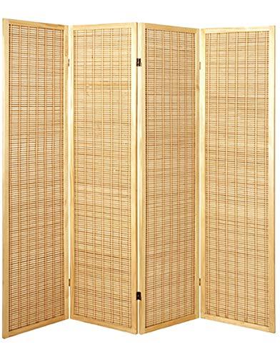 HAKU Möbel Paravent - Sichtschutz aus Babmusholz in Naturoptik, Höhe 182 cm