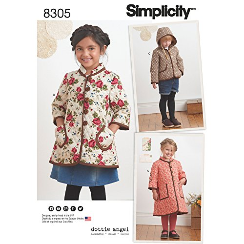 Simplicity Pattern 8305 Child's Coat and Jacket by Dottie Angel, Size A (3-4-5-6-7-8)