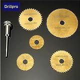 Calli Drillpro 6pcs HSS Kreissägeblätter Set titannitriert Sägeblätter für Dremel Präzisionswerkzeuge -
