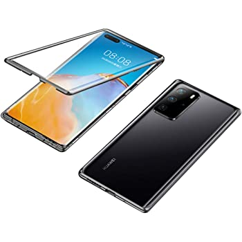 """EUDTH Huawei P40 Pro Funda, Marco de Metal Magnético Carcasa Flip Case con 9H Vidrio Templado Anverso y Trasero Estuche Protector de Cobertura Completo de 360 ° para Huawei P40 Pro 6.58"""" -Negro"""