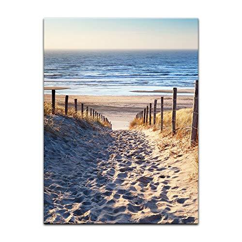 Wandbild - Schöner Weg zum Strand III - Bild auf Leinwand - 60x80 cm einteilig - Leinwandbilder - Urlaub, Sonne & Meer - Nordsee - Dünen mit Strandgräsern - Idylle - Erholung