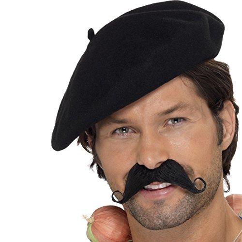 Amakando Baskenmütze - schwarz - Schiebermütze Franzosenmütze Franzosenhut Französische Mütze Barett Mütze