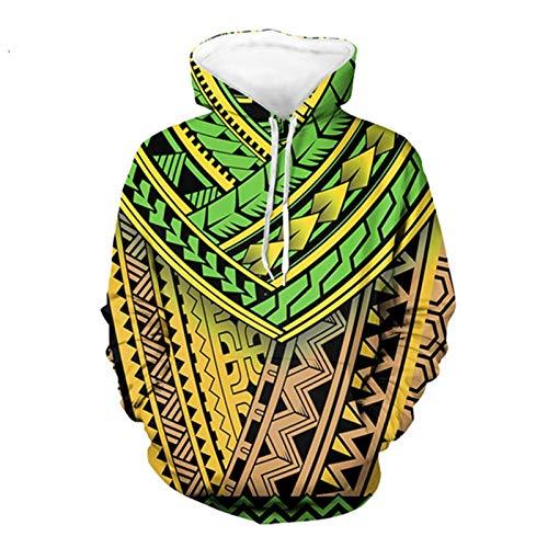 SEANATIVE Jersey Casual Camisas Largas Con Capucha Sudadera Hawaii Polinesio Hibiscus Plumeria Diseño 3XL Amarillo