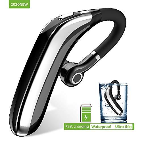 Bluetooth Headset Handy V5.0, Bluetooth-Ohrhörer, Schnellladung, Wasserdicht IPX7, Kopfhörer Noise Cancelling, Hands Free Bluetooth für Handy, Bluetooth Hörmuschel kompatibel mit iOS und Android