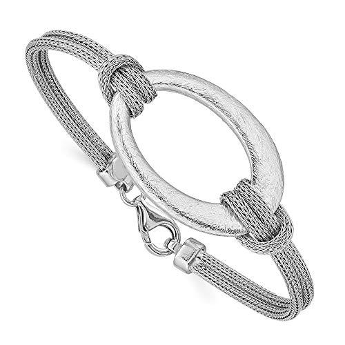 Pulsera de plata de ley 925 maciza flexible con cierre de langosta cepillado de malla ovalada anudada, joyería regalos para mujeres